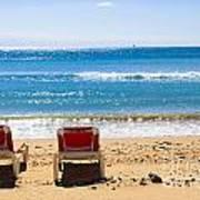 Two Empty Sun Loungers On Beach By Sea Art Print