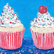 Two Frosted Cupcakes Art Print