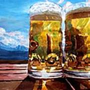 Two Glasses Of Beer With Mountains Art Print