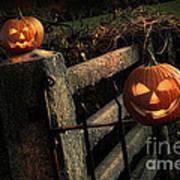 Two Halloween Pumpkins Sitting On Fence Art Print by Sandra Cunningham