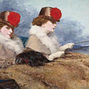 Two Ladies In A Carriage Ride Art Print