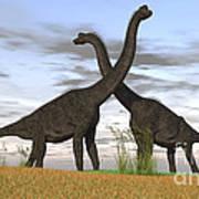 Two Large Brachiosaurus In Prehistoric Print by Kostyantyn Ivanyshen