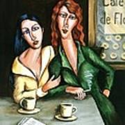 Two Lesbians In A Paris Cafe Art Print