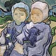 Two Little Girls Art Print by Vincent Van Gogh