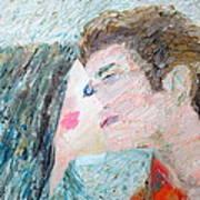 Two Lovers Kissing Art Print