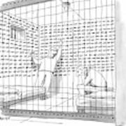 Two Men In A Jail Cell. One Is Examining A Wall Art Print