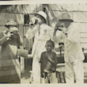 Two Men In Tropical Clothing And A Woman Drinking From Bowls Art Print