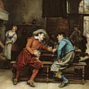 Two Men Talking In A Tavern Art Print