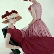 Two Models Wearing Red Dresses Art Print