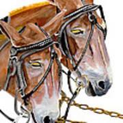 Two Mules - Enhanced Color - Farmer's Friend Art Print