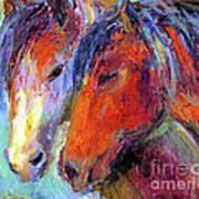 Two Mustang Horses Painting Art Print