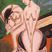 Two Nudes In The Room Art Print by Ernst Ludwig Kirchner