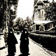 Two Nuns - Sepia - Novodevichy Convent - Russia Art Print
