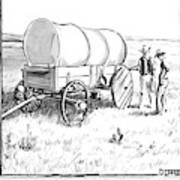 Two Pioneers Discuss The Wheels Of Their Wagon Art Print