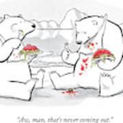 Two Polar Bears Eat Spaghetti And Meatballs.  One Art Print