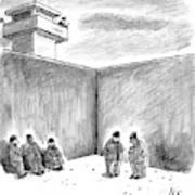 Two Prisoners Talk In The A Prison Yard Art Print