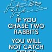 Two Rabbits Blue Art Print