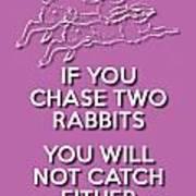Two Rabbits Violet Art Print