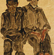 Two Seated Boys Art Print by Egon Schiele