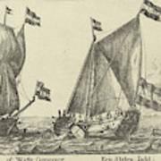 Two Ships A Statenjacht And An Interpreter Art Print