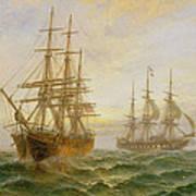 Two Ships Passing At Sunset Art Print