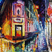 Two Streets - Palette Knife Oil Painting On Canvas By Leonid Afremov Art Print