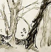 Two Tree Drawing Art Print