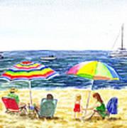Two Umbrellas On The Beach California  Art Print