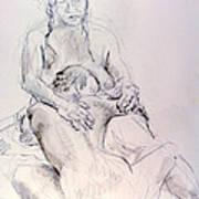 Two Woman Embraceing Art Print
