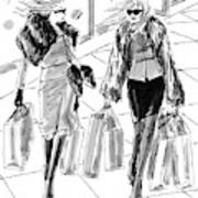 Two Women Dressed Nicely Walk Together Carrying Art Print