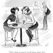 Two Women Sitting At A Coffee Shop Speak Art Print