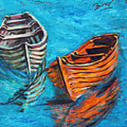 Two Wood Boats Print by Xueling Zou