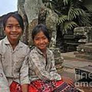 Two Young Cambodian Girls In Angkor Wat Print by Sami Sarkis