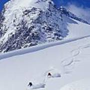 Two Young Men Skiing Untracked Powder Print by Henry Georgi Photography Inc