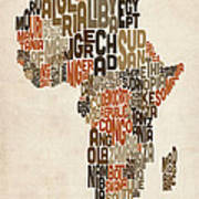 Typography Text Map Of Africa Art Print by Michael Tompsett