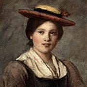Tyrolean Dirndl With Straw Hat Art Print