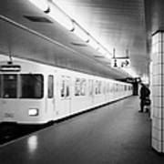 u-bahn train pulling in to ubahn station Berlin Germany Art Print