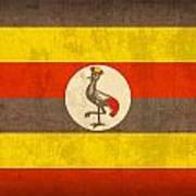 Uganda Flag Vintage Distressed Finish Art Print