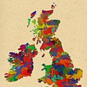 Uk Watercolor Map Art Print