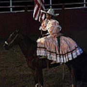 July 4th Rodeo Hispanic Female Rider Charreada Chandler Arizona 1999-2014 Art Print