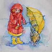 Umbrella Girl With A Kitty Art Print