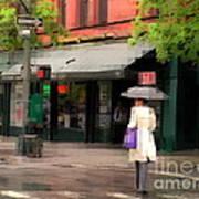 The Purple Bag - New York City In The Rain Art Print