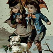 Umbrella In The Snow, Victorian Postcard Art Print