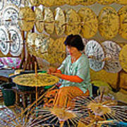 Umbrella Maker At Borsang Umbrella And Paper Factory In Chiang Mai-thailand Art Print