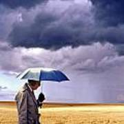Umbrella Man In Kansas Wheat Field Art Print