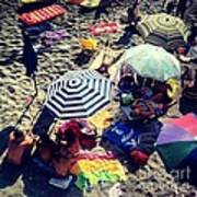 Umbrellas At The Beach Art Print by H Hoffman