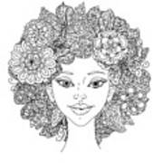 Uncolored Girlish Face For Adult Art Print
