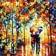 Under One Umbrella - Palette Knife Figures Oil Painting On Canvas By Leonid Afremov Art Print