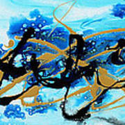 Under The Sea Original Abstract Blue Gold Painting By Madart Art Print