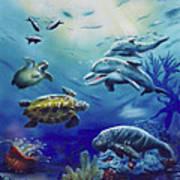 Under Water Antics Art Print